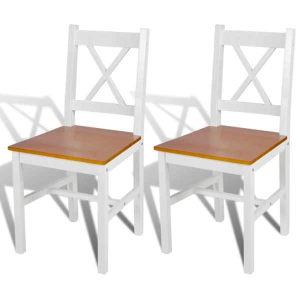 vidaXL Scaune de bucătărie, 2 buc., alb, lemn de pin