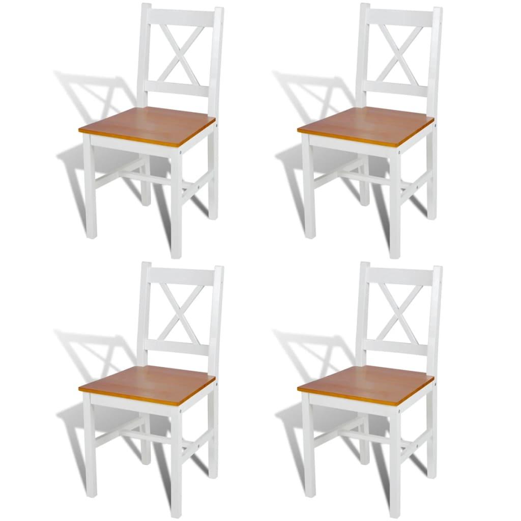 vidaXL Scaune de bucătărie, 4 buc., alb, lemn de pin