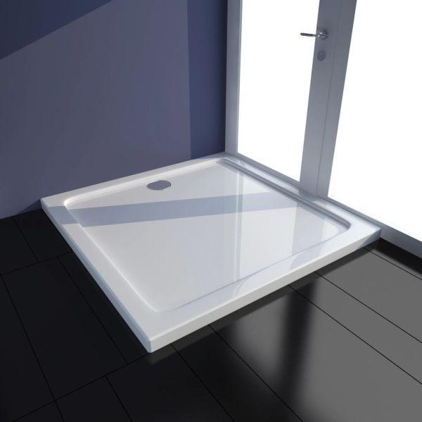 vidaXL Cădiță de duș pătrată din ABS, alb, 80 x 80 cm