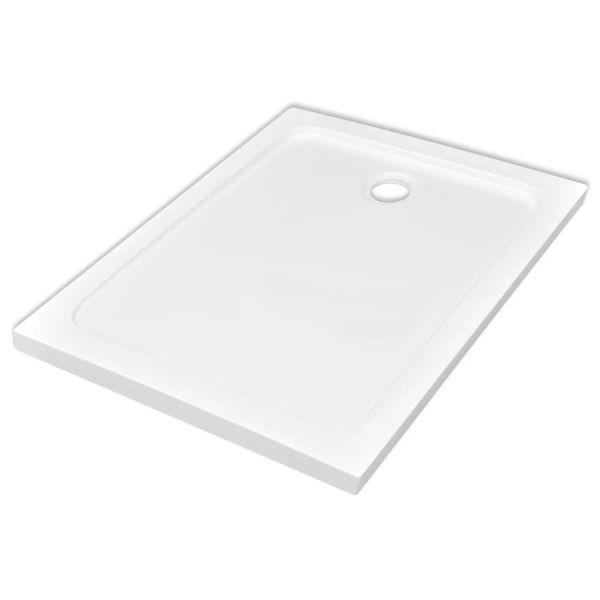 Cădiță de duș dreptunghiulară din ABS, alb, 80 x 110 cm