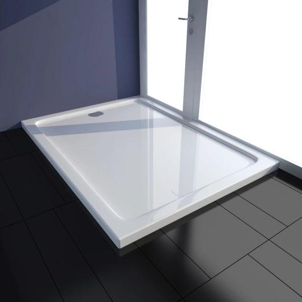 vidaXL Cădiță de duș dreptunghiulară din ABS, alb, 80 x 110 cm