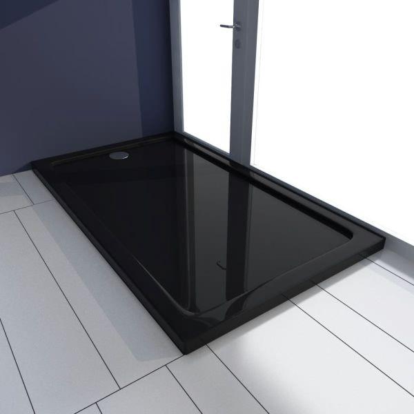 vidaXL Cădiță de duș dreptunghiulară din ABS, negru, 70 x 120 cm
