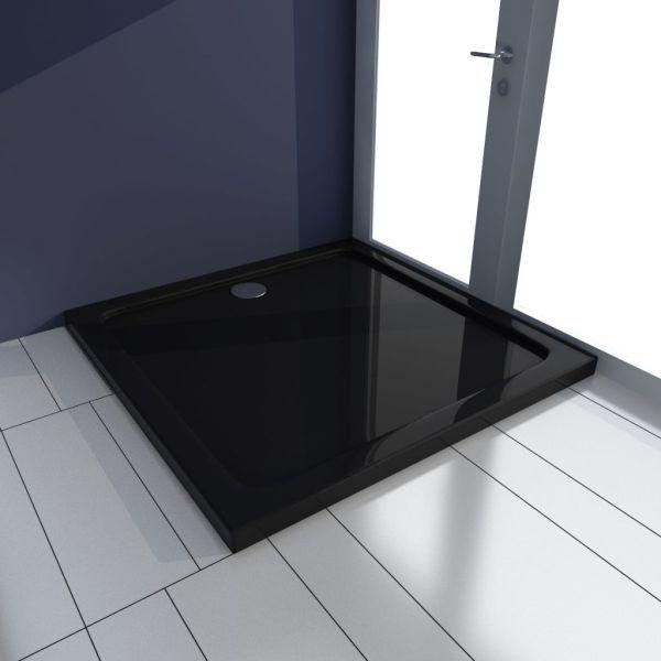 vidaXL Cădiță de duș pătrată din ABS, negru, 80 x 80 cm