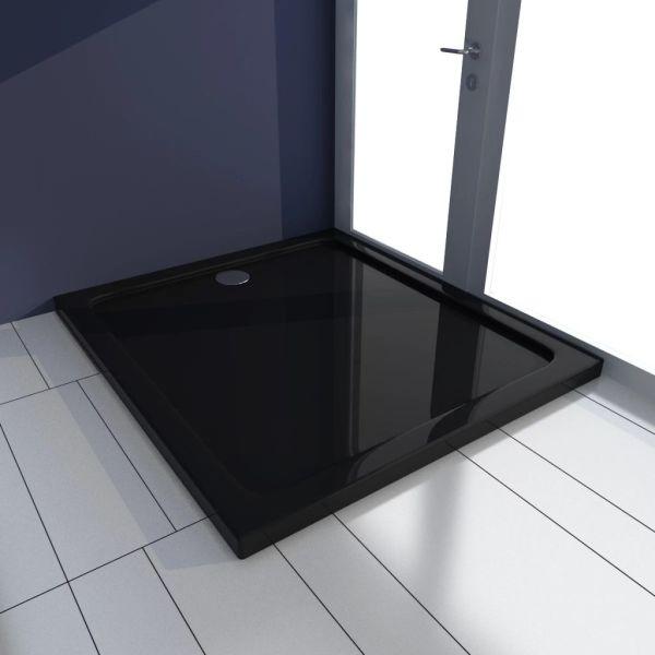 vidaXL Cădiță de duș dreptunghiulară din ABS, negru, 80 x 90 cm
