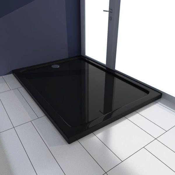vidaXL Cădiță de duș dreptunghiulară din ABS, negru, 80 x 110 cm