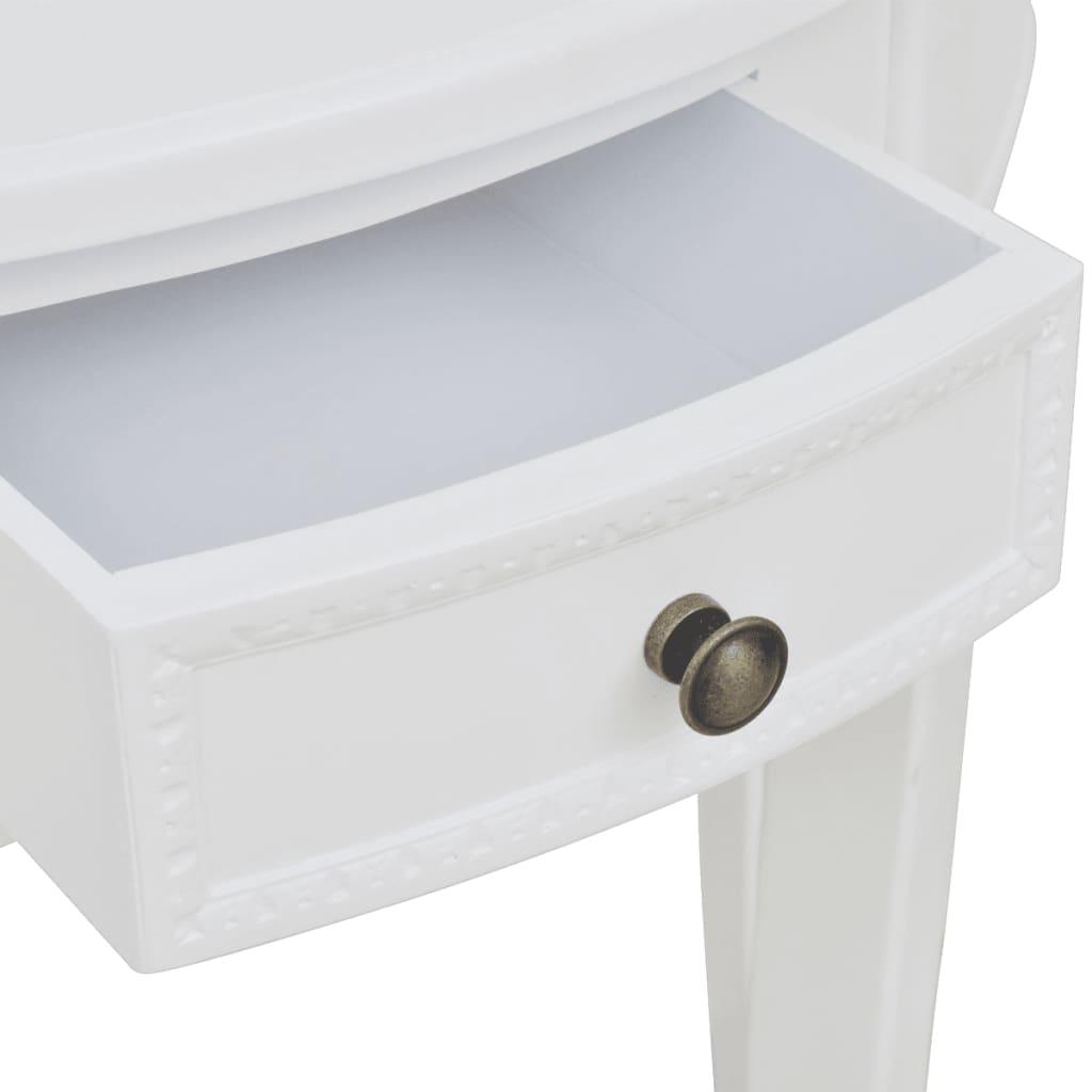 Masă consolă cu sertar, semicerc, alb