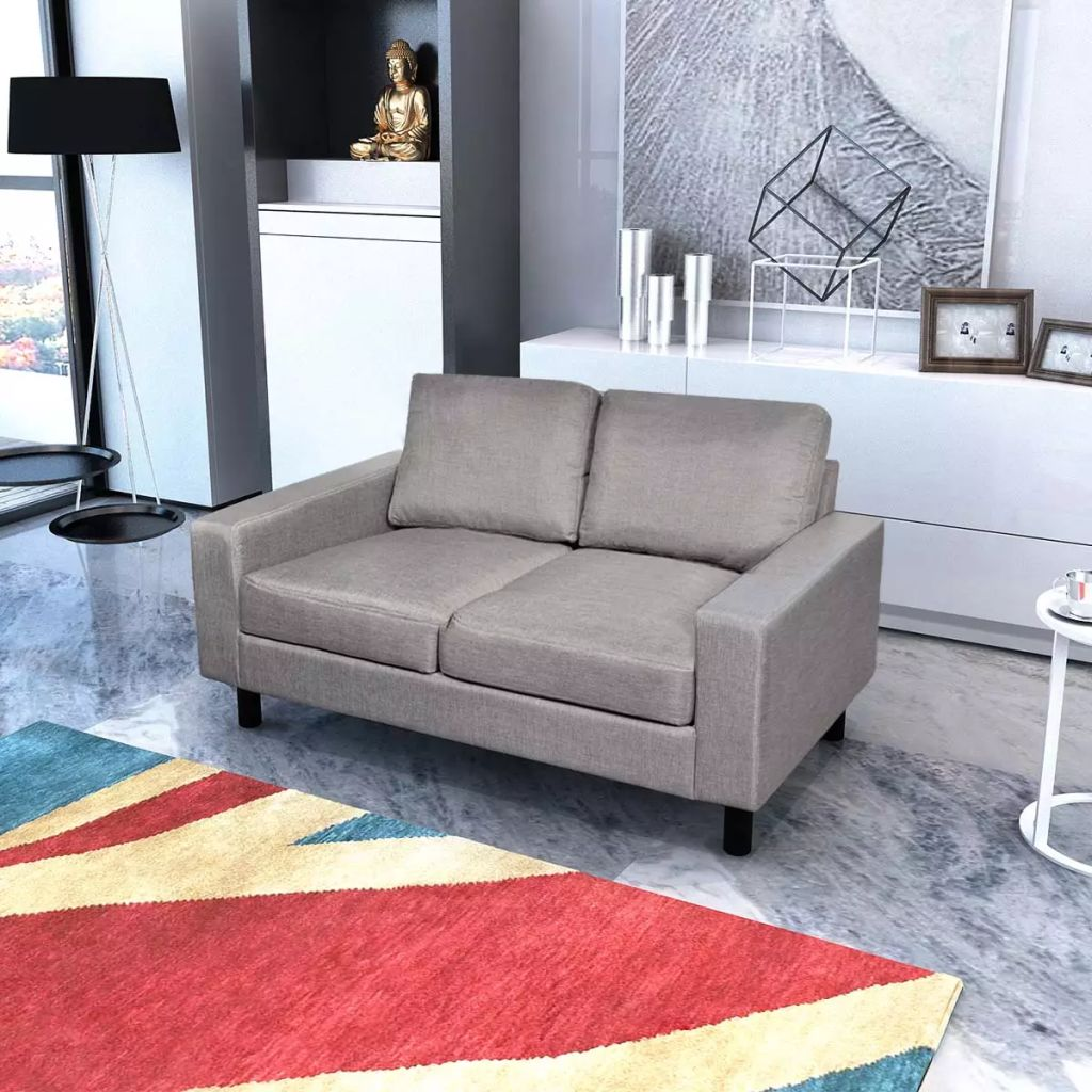 vidaXL Canapea cu 2 locuri, material textil, gri deschis