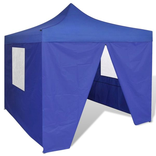 41466 vidaXL Blue Foldable Tent 3 x 3 m with 4 Walls