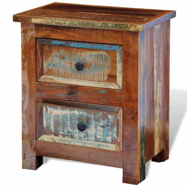 vidaXL Noptieră cu 2 sertare, lemn masiv de sheesham