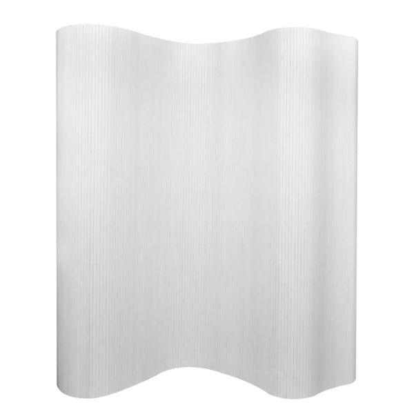 vidaXL Paravan de cameră, alb, 250 x 165 cm, bambus