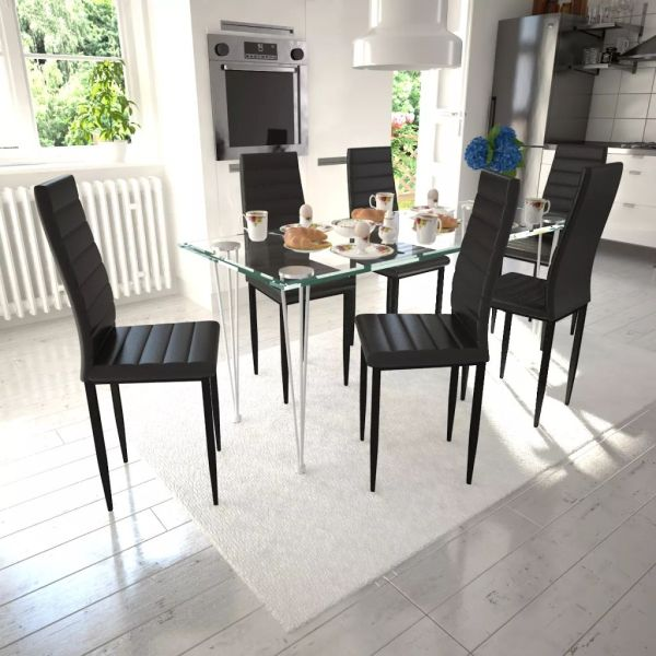 Set 6 scaune Slim Line cu masă din sticlă, negru
