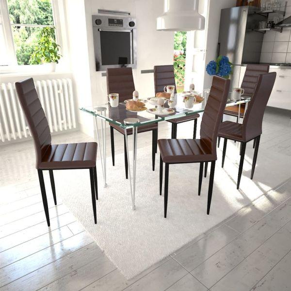 Set 6 scaune de culoare maro și masă de sticlă