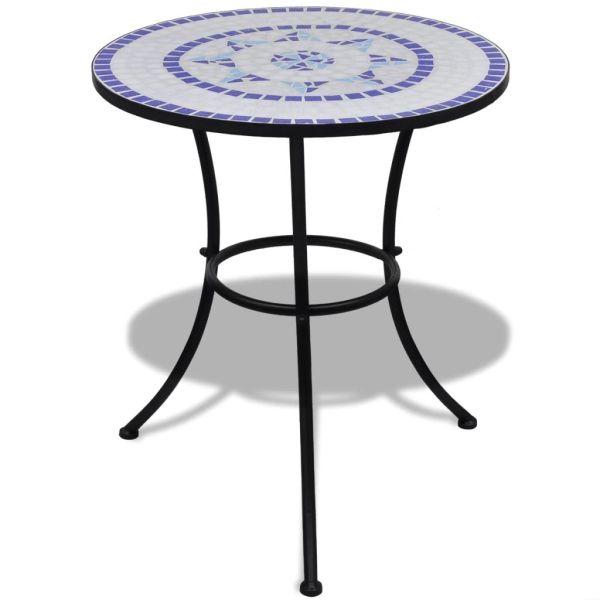 Set mobilier bistro, 3 piese, albastru/alb, plăci ceramice