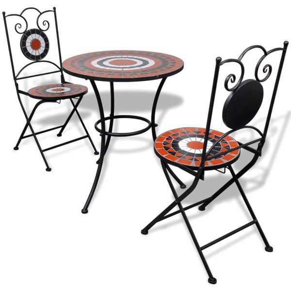 vidaXL Set mobilier bistro, 3 piese, teracotă/alb, plăci ceramice