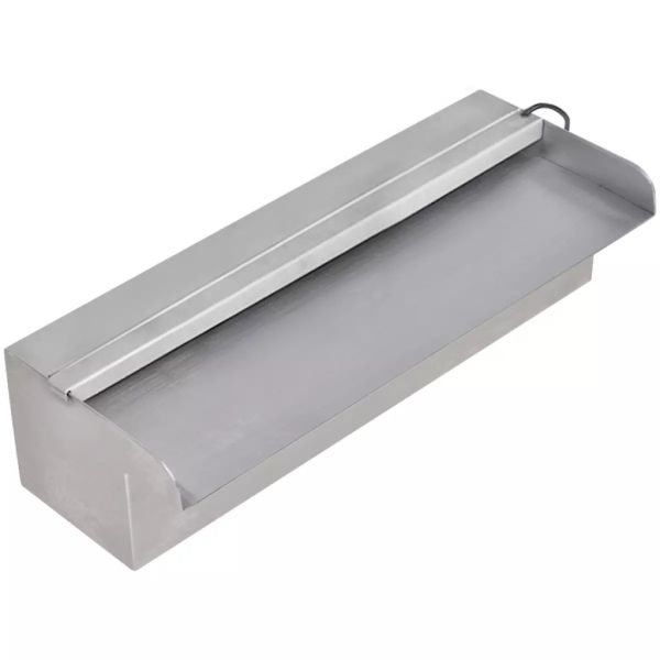 Fântână piscină dreptunghiulară LED-uri 30 cm oțel inoxidabil