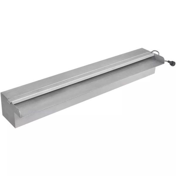 Fântână piscină dreptunghiulară LED-uri 60 cm oțel inoxidabil
