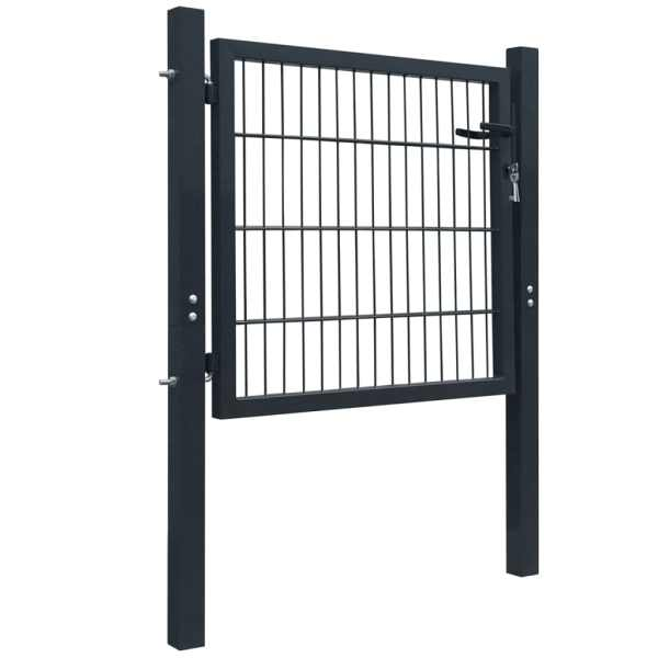 Poartă 2D pentru gard (simplă) 106 x 130 cm, gri antracit