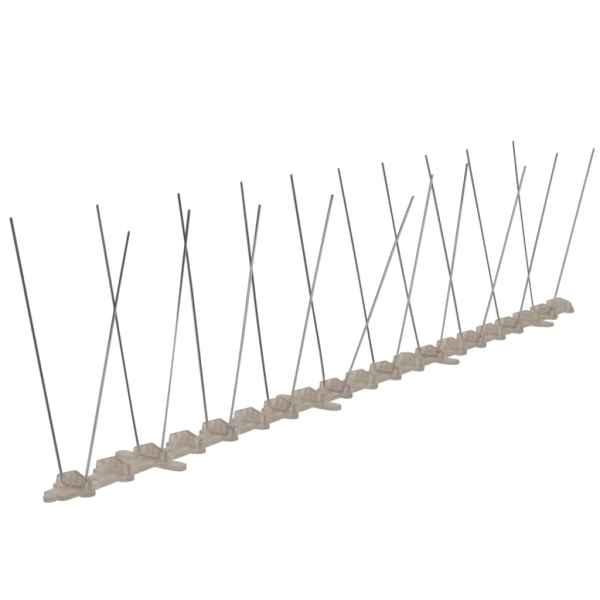 vidaXL Set bandă cu țepi antipăsări cu 2 rânduri, 6 buc., plastic, 3 m