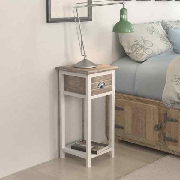 vidaXL Noptieră cu 1 sertar, maro și alb