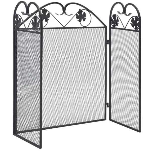 vidaXL Ecran de șemineu cu 3 panouri, negru, fier