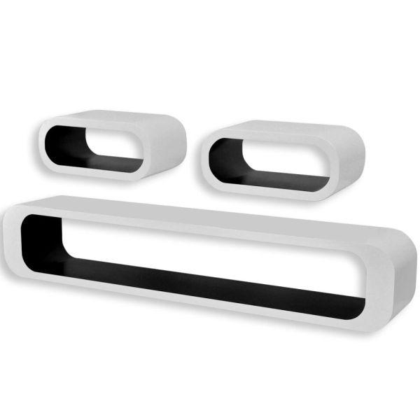 3 Rafturi cub suspendate bibliotecă depozitare DVD MDF, alb-negru