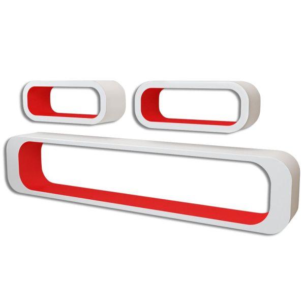 3 Rafturi cub suspendate bibliotecă depozitare DVD din MDF, alb-roșu