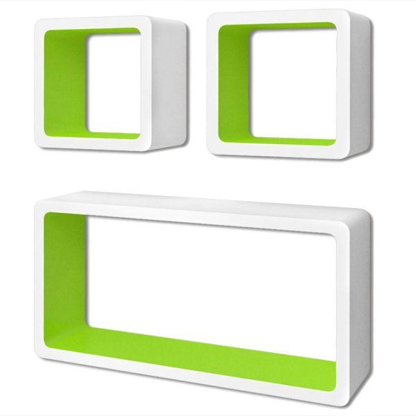 3 Rafturi de tip cub din MDF pentru cărți/DVD-uri, Alb-Verde