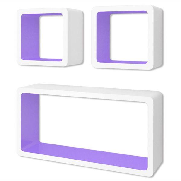 Rafturi de tip cub pentru cărți/DVD-uri, 3 piese, MDF, alb-mov
