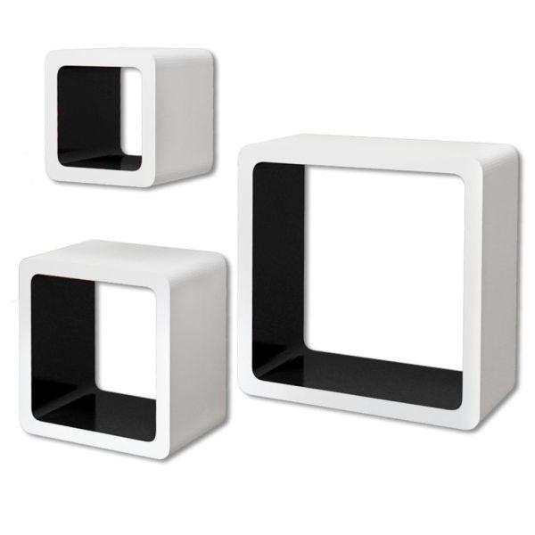 Rafturi de tip cub din MDF pentru cărți/DVD-uri, Alb-Negru, 3 buc.