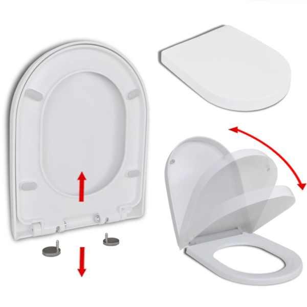 vidaXL Capac WC, închidere silențioasă, eliberare rapidă, alb, pătrat