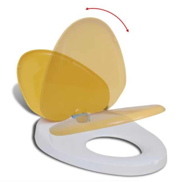 Scaun toaletă închidere silențioasă alb & galben adulți/copii