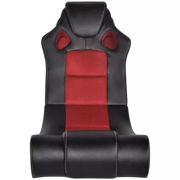 Scaun balansoar muzical, negru și roșu, piele ecologică