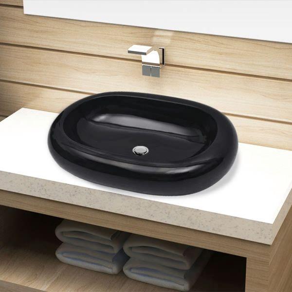 vidaXL Chiuvetă de baie din ceramică, ovală, negru