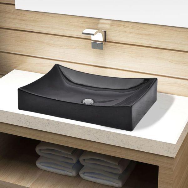 vidaXL Chiuvetă de baie din ceramică, dreptunghiulară, negru