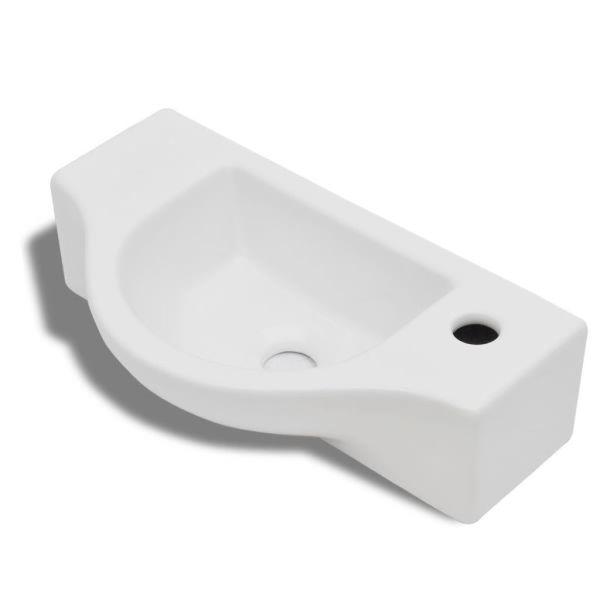 Chiuvetă de baie din ceramică, gaură pentru robinet și preaplin, alb