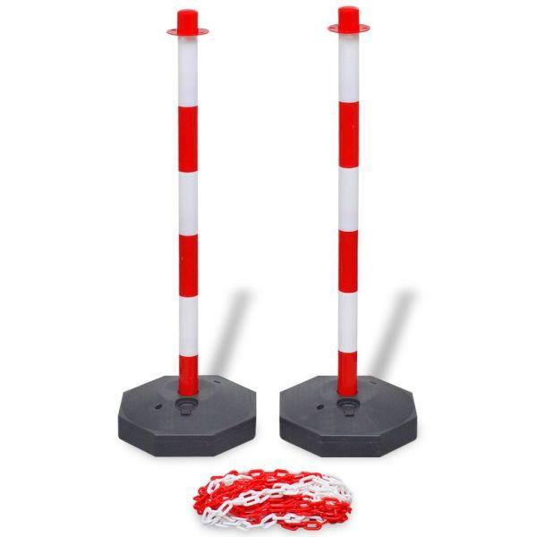 Set stâlpi semnalizare trafic cu lanț din plastic de 10 m