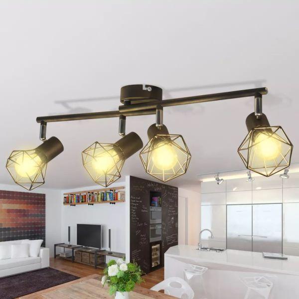 Lustră cadru sârmă stil industrial 4 becuri LED cu filament, negru
