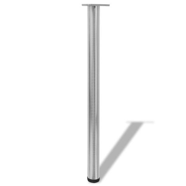 Picioare de masă din nichel șlefuit, înălțime reglabilă, 4 buc, 870 mm