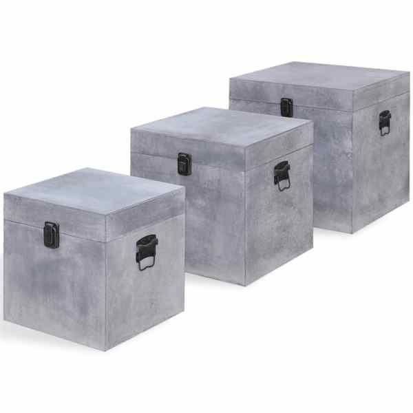 vidaXL Cutie de depozitare beton, 3 buc, pătrat, gri, MDF