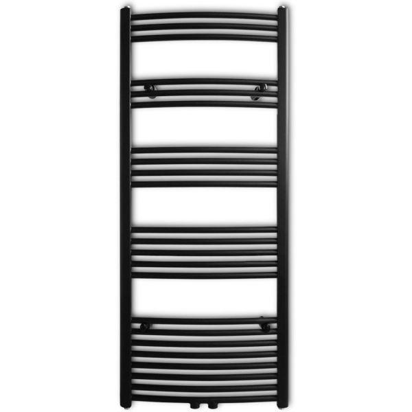 Radiator port-prosop încălzire centrală baie, curbat, 600 x 1424 mm, Negru