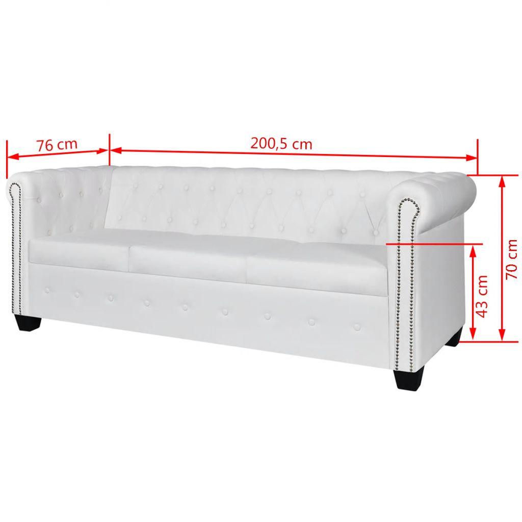 Canapea Chesterfield cu 3 locuri, piele artificială, alb
