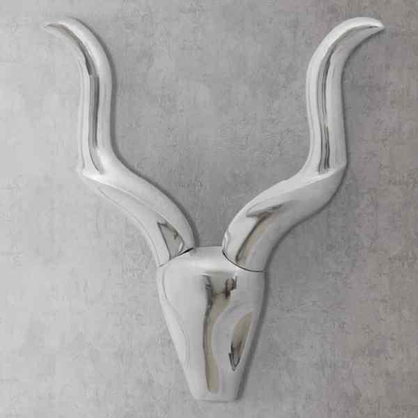 Decorațiune pentru perete tip cap de taur, aluminiu, 50 cm, argintiu