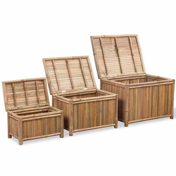 vidaXL Cutii de depozitare 3 buc, bambus