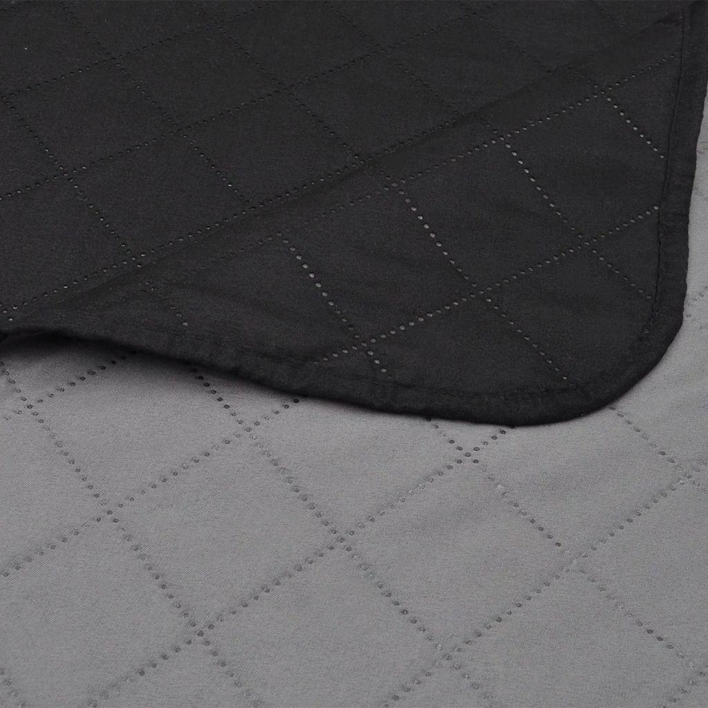 Cuvertură matlasată cu două fețe, 230 x 240 cm, negru/gri