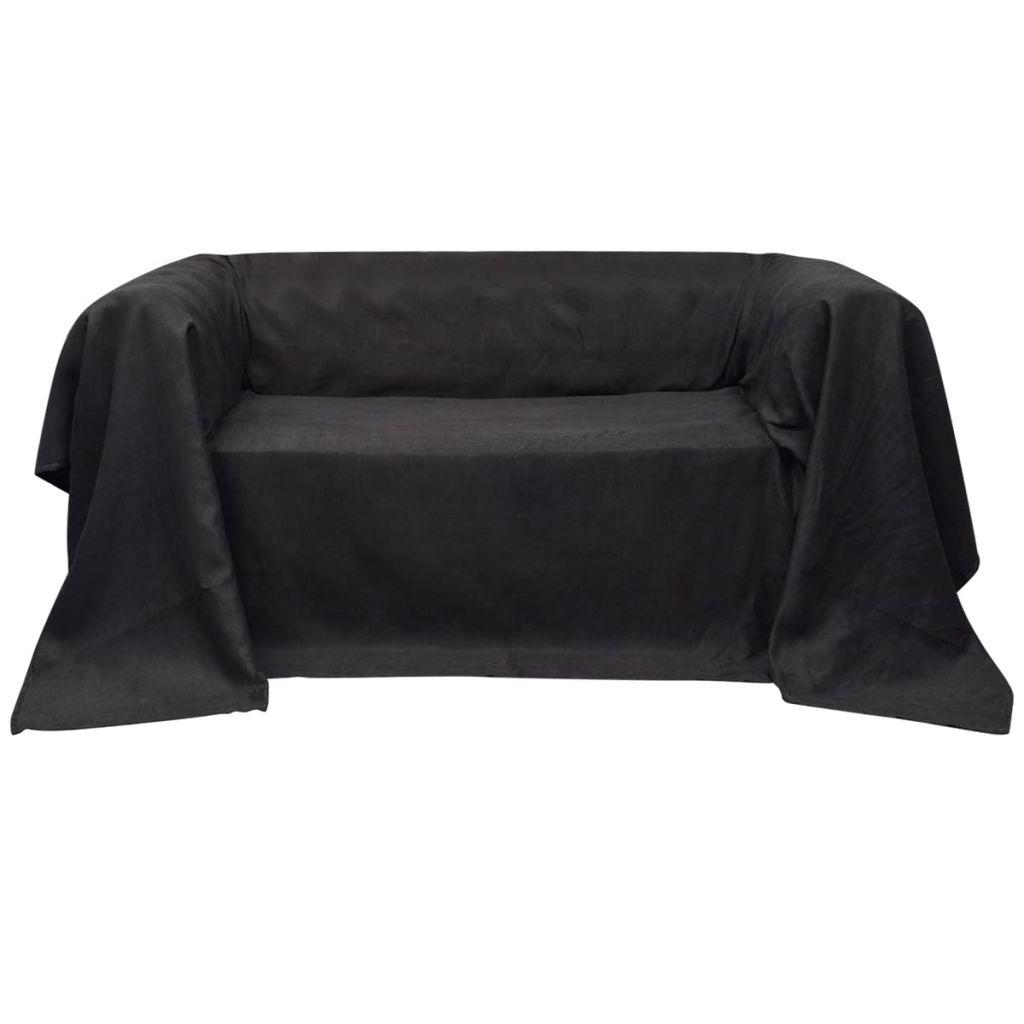 Husă din velur microfibră pentru canapea, 140 x 210 cm, antracit