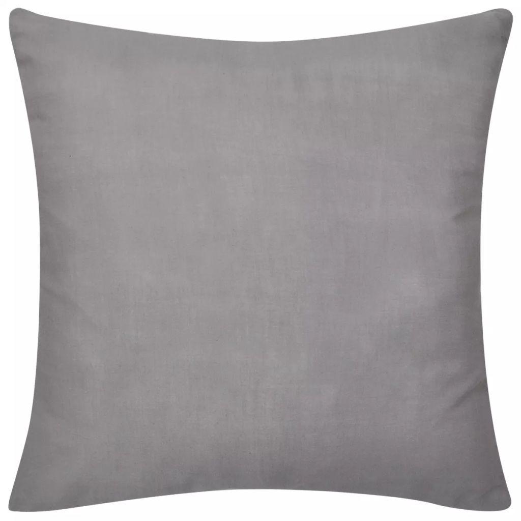 Huse de pernă din in 4 buc 40 x 40 cm gri
