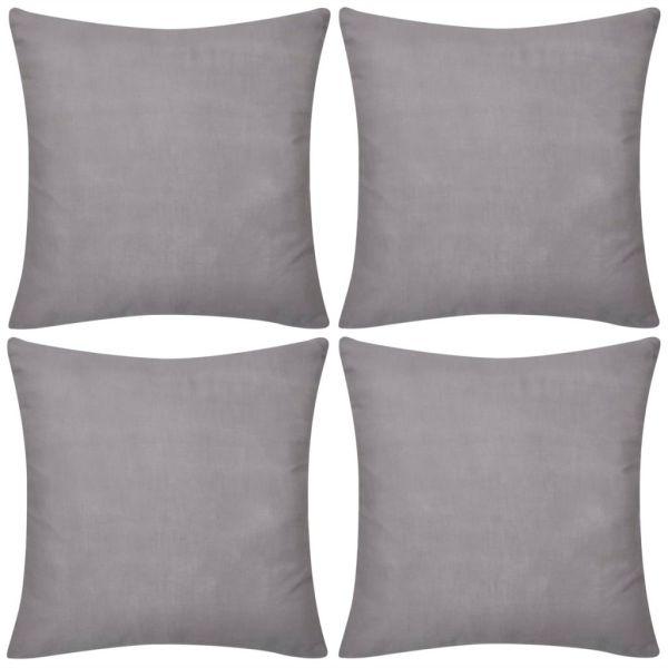 Huse de pernă din bumbac, 80 x 80 cm, gri, 4 buc.