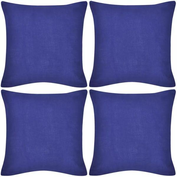 Huse de pernă din bumbac, 40 x 40 cm, albastru, 4 buc.