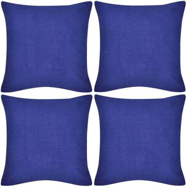 Huse de pernă din bumbac, 80 x 80 cm, albastru, 4 buc.