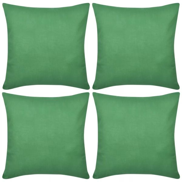 Huse de pernă din bumbac, 50 x 50 cm, verde, 4 buc.